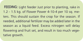FEEDING: Light feeder Just prior to planting, rake in 1.2 - 1
