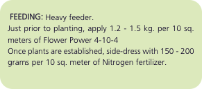 FEEDING: Heavy feeder. Just prior to planting, apply 1.2 - 1.